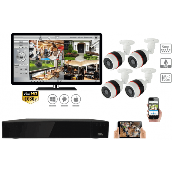 Complete kit video surveillance-Surveillance Kit 4 night vision 5MP cameras