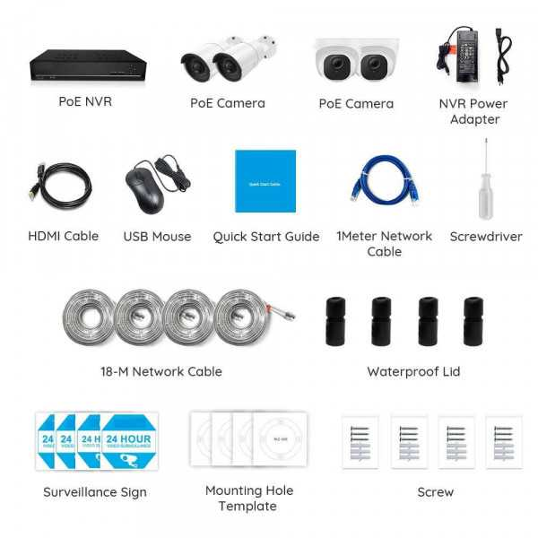 Video surveillance kit with 2 dome cameras and 2 bullet cameras-667,39€- En Stock