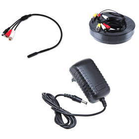 Accessories video surveillance -Pack mic + cable + transformer