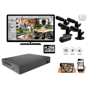 Complete kit video surveillance-1.3 MP with miniature spy cameras H.264 surveillance Pack