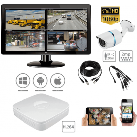 Complete kit video surveillance-2MP 1 camera outdoor night vision surveillance Pack H264