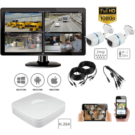 Complete kit video surveillance-Pack monitoring 2MP 2 outdoor night vision cameras H264