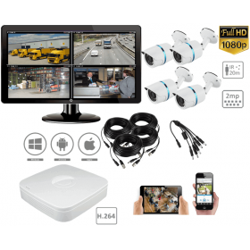 Complete kit video surveillance-Surveillance pack 2MP 4 outdoor cameras night vision H264