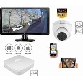 Complete kit video surveillance-Internal CCTV camera 1 Pack outside dome 2MP