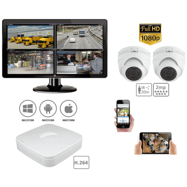 Complete kit video surveillance-Pack CCTV 2 outdoor indoor dome 2MP cameras