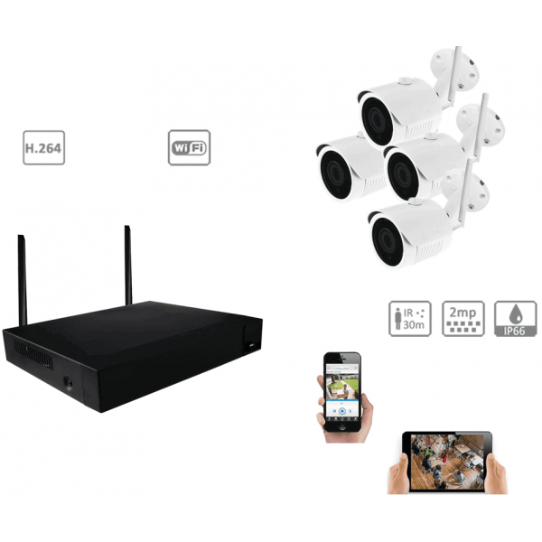 Complete kit video surveillance-Full 1080 p indoor outdoor night vision 2MP wifi Kit